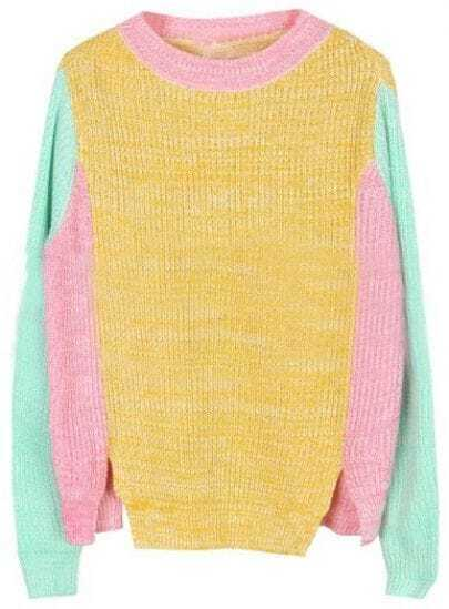Pink Blue Yellow Long Sleeve Split Pullovers Sweater