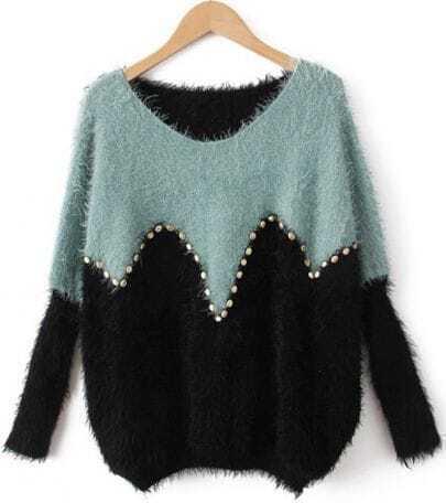 Blue Green Long Sleeve Rivet Loose Sweater