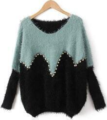 Blue Green Long Sleeve Rivet Loose Sweater