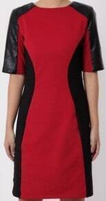 Red Black Contrast PU Leather Short Sleeve Dress