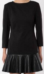 Black Long Sleeve Contrast PU Leather Dress
