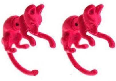 Rose Pink Fox Stud Earrings