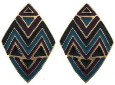 Black Blue Geometric Stud Earrings