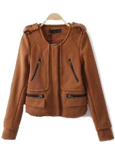 Camel Long Sleeve Zipper Pockets Epaulet Crop Coat
