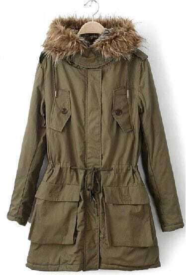 Green Fur Hooded Long Sleeve Pockets Drawstring Coat