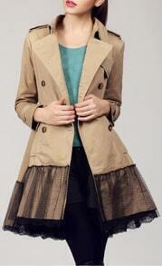 Khaki Long Sleeve Contrast Lace Epaulet Trench Coat