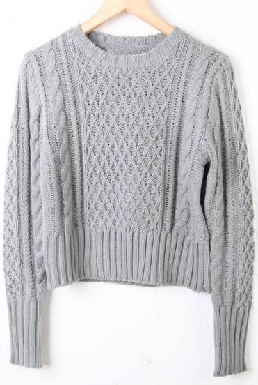 Grey Long Sleeve Diaper Crop Pullovers Sweater