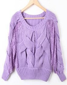 Purple Long Sleeve Contrast Lace Hollow Sweater