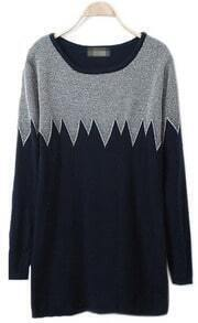 Grey Black Long Sleeve Zigzag Pullovers Sweater