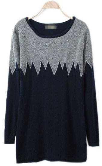 Grey Black Long Sleeve Zigzag Pullovers Sweater