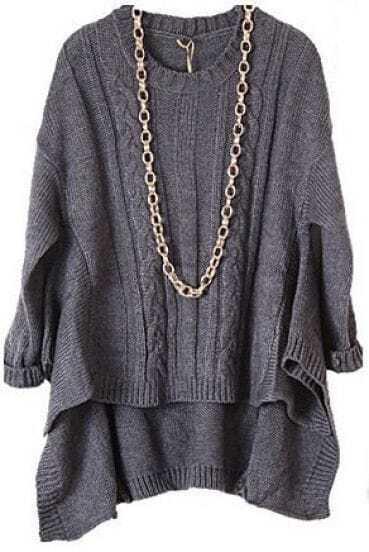 Grey Long Sleeve Asymmetrical Loose Pullovers Sweater