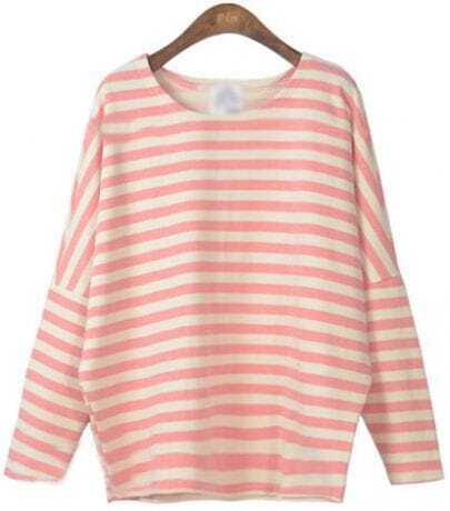 Pink Batwing Long Sleeve Striped Patch T-Shirt