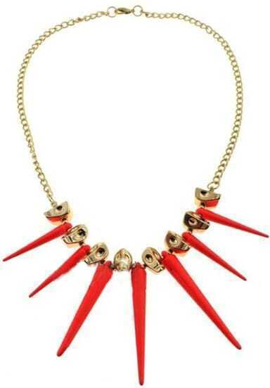 Pink Spike Gold Skull Chain Necklace