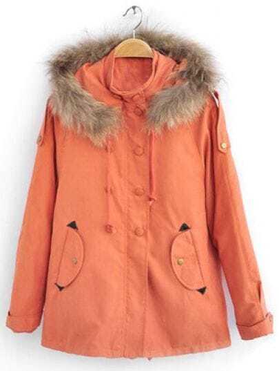 Orange Hooded Long Sleeve Epaulet Pockets Coat