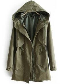 Green Hooded Long Sleeve Drawstring Zipper Trench Coat