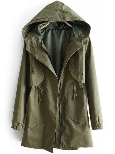 Green Hooded Long Sleeve Drawstring Zipper Trench Coat