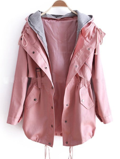 pink removable hooded long sleeve drawstring trench coat. Black Bedroom Furniture Sets. Home Design Ideas