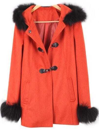 Red Long Sleeve Fur Embellished Buckle Strap Trench Coat