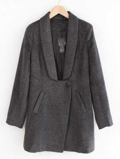 Dark Grey Lapel Long Sleeve Single Button Coat