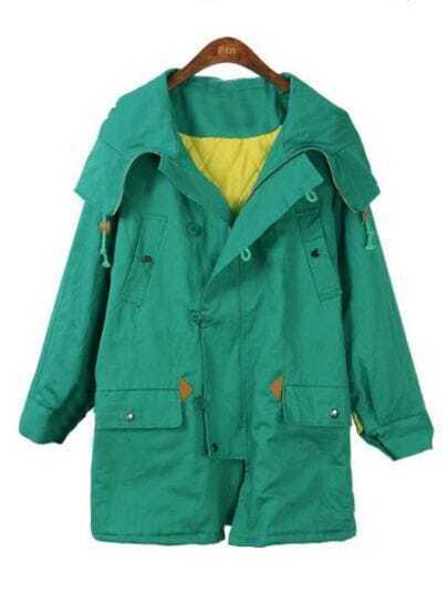 Green Hooded Long Sleeve Letters Print Pockets Coat