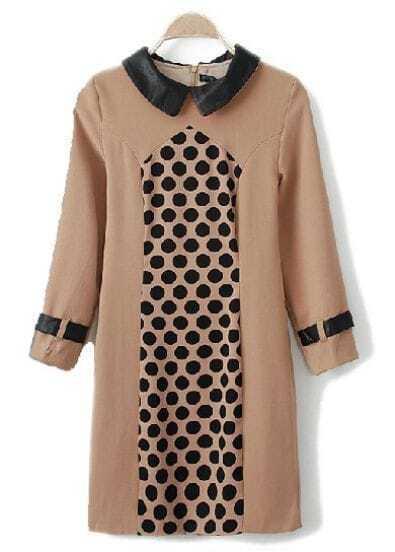 Khaki Lapel Long Sleeve Polka Dot Dress