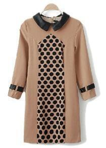 Khaki Lapel Long Sleeve Polka Dot Dress