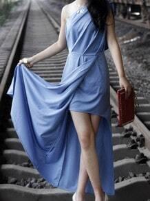 Blue One Shoulder Split Full Length Evening Dress