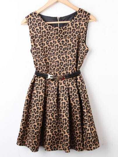 Leopard Sleeveless Back Zipper Tank Dress