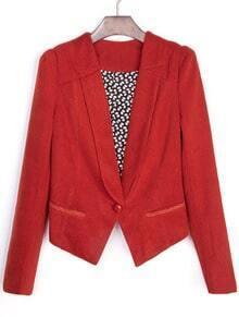 Red Lapel Long Sleeve Shoulder Pads Crop Suit