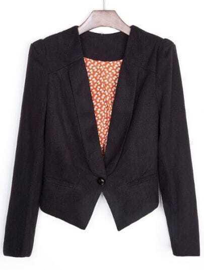 Black Lapel Long Sleeve Shoulder Pads Crop Suit