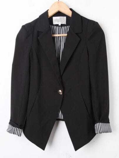 Black Notch Lapel Long Sleeve Vertical Stripe Suit