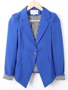 Blue Notch Lapel Long Sleeve Vertical Stripe Suit