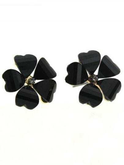 Black Heart Gemstone Gold Stud Earrings