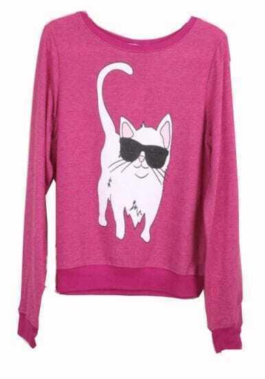 Red Round Neck Long Sleeve Cat Print Sweatshirt