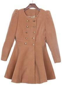 Apricot Round Neck Skirt Hem Military Wool Coat