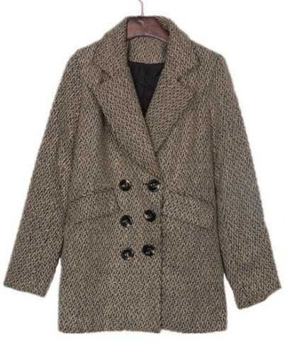 Khaki Black Fleck Boyfriend Wool Coat