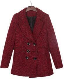 Wine Red Black Fleck Boyfriend Wool Coat