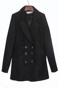 Black Double Breasted Notch Lapel Boyfriend Wool Coat