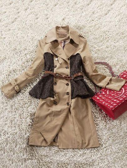 Khaki Lapel Long Sleeve Epaulet Ruffles Trench Coat