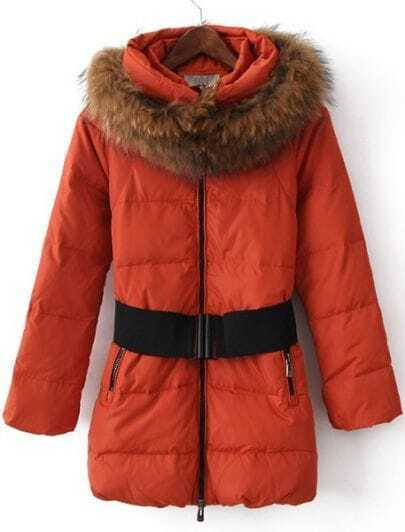Red Fur High Neck Zipper Drawstring Down Coat