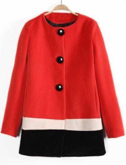 Red Beige Black Long Sleeve Single Breasted Coat