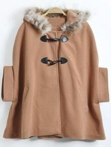 Khaki Fur Hooded Horn Button Bow Cape Coat