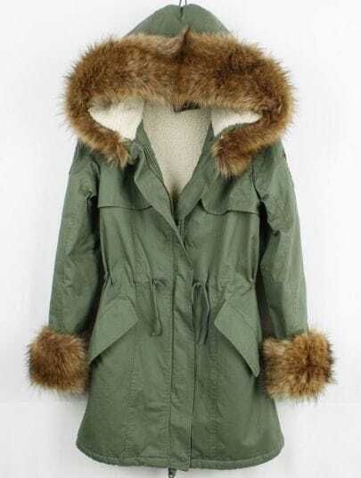 Green Fur Hooded Long Sleeve Zipper Drawstring Coat