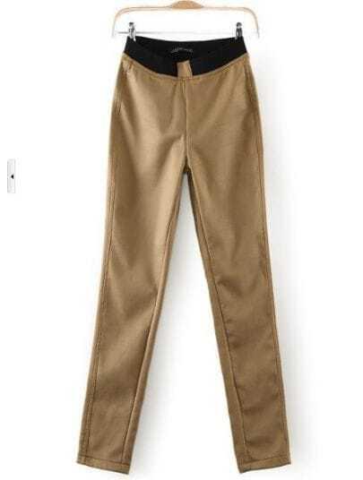 Khaki Mid Waist Elastic Leggings