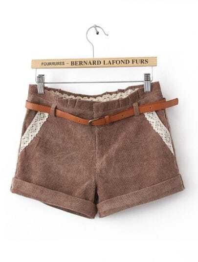 Khaki Mid Waist Lace Pockets Shorts