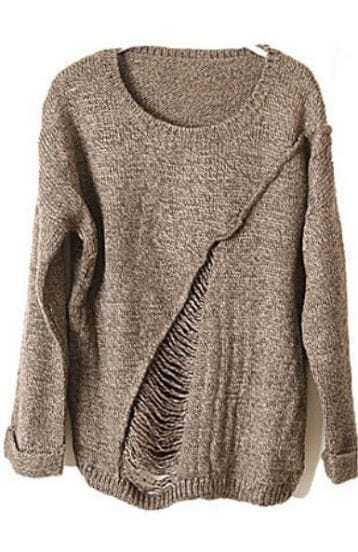 Khaki Long Sleeve Ripped Tassel Loose Sweater