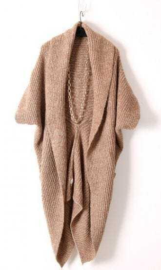 Khaki Long Sleeve Pockets Cape Cardigan Sweater