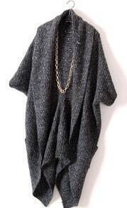 Black Long Sleeve Pockets Cape Cardigan Sweater