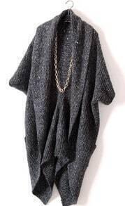 Black Long Sleeve Pockets Cape Cardigan Sweater