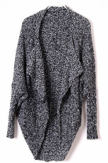 Black Batwing Long Sleeve Asymmetrical Cardigan Sweater